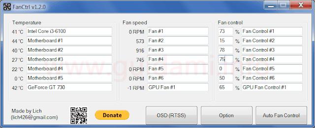 FanCtrl schermata iniziale