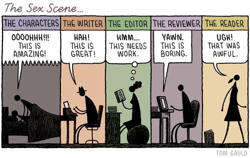 Meme de humor sobre las escenas de sexo en los libros