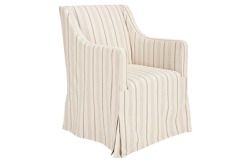 Slipcovered Stripe Chair