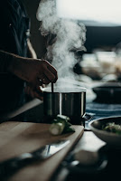 steaming pot on a stovetop