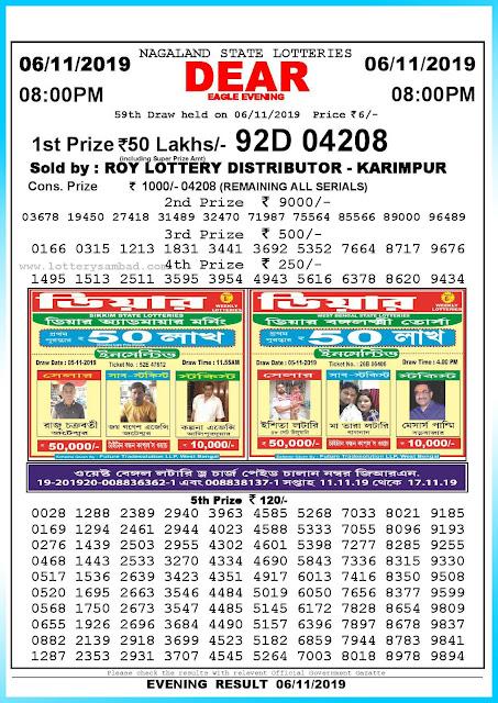 Lottery sambad 06-11-2019 Nagaland State Lottery Result 08.00 PM-sambadlottery.org