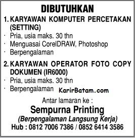 Lowongan Kerja PT. Sempurna Printing