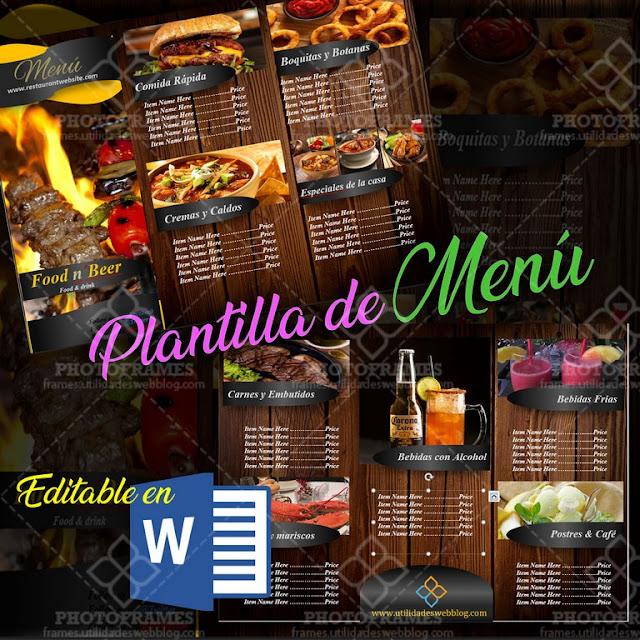 Formato de menu para restaurante editable en Word