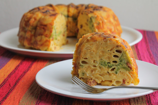Food Lust People Love: This bacon broccoli mac and cheese Bundt is a delicious main course made with a wonderful cheesy sauce that includes heavy cream, extra sharp cheddar and five whole eggs. This Bundt is much more than just baking your usual mac and cheese in a Bundt pan. The bacon, broccoli and eggs make this a full meal. Leftovers, if you should be so fortunate as to have any, are just as delicious the next day.