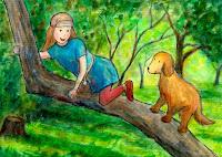 Postikorttikuvitus, missä tyttö ja koira ovat kiivenneet puuhun / Postcard illustration of a girl and dog on the tree