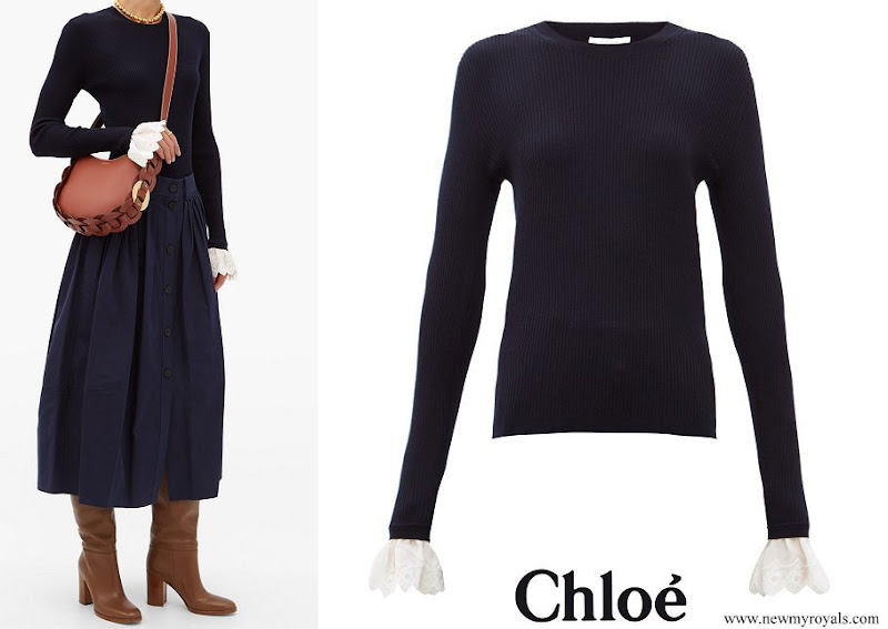 Crown Princess Mary wore Chloe wool ribbed sweater with embroidery