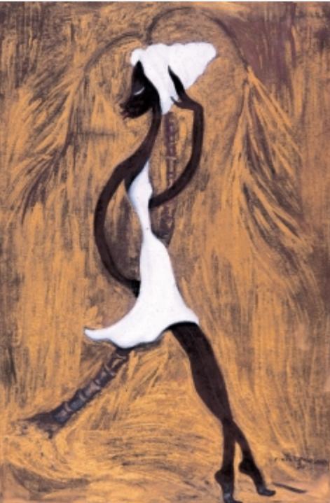 Negrita posando en una palma, 1957