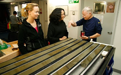 Bering Strait sediment cores from the bottom of the ocean (2009), used to investigate past oceanography and climate change.