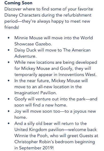 My Disney Experience Epcot Character Changes Announcement September 2019