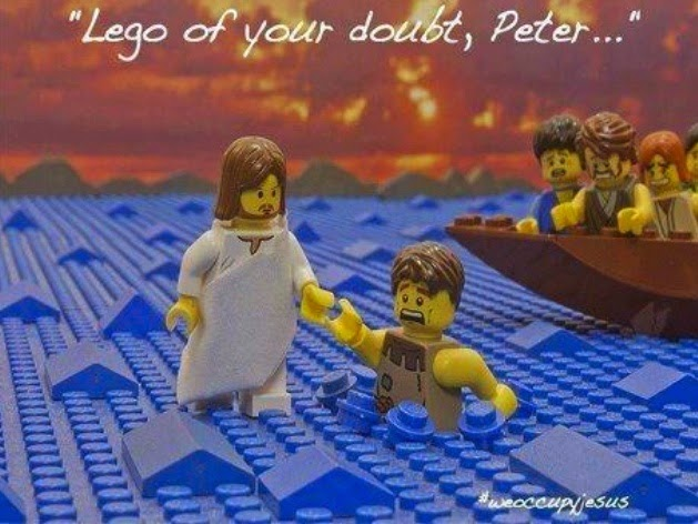 Funny Jesus Lego of your doubt Peter Bible pun joke picture