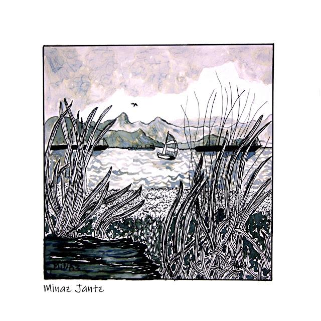 Vancouver Bike Ride: Jericho Beach Ink on Bristol Paper by Minaz Jantz http://thebigpictureartproject.com/