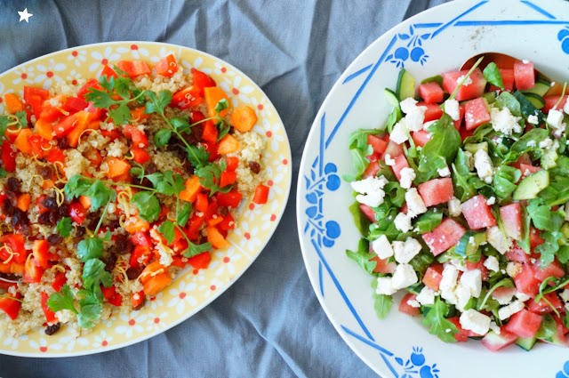 salade pastèque feta roquette salade quinoa poivron healthyfood foodphotography