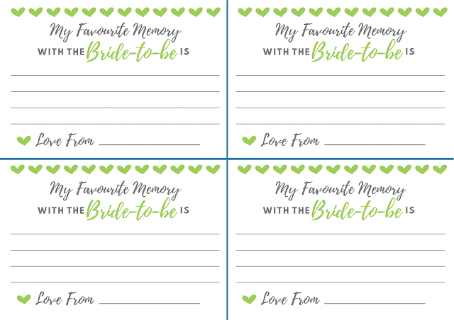 Free printable hen party memory card - in green