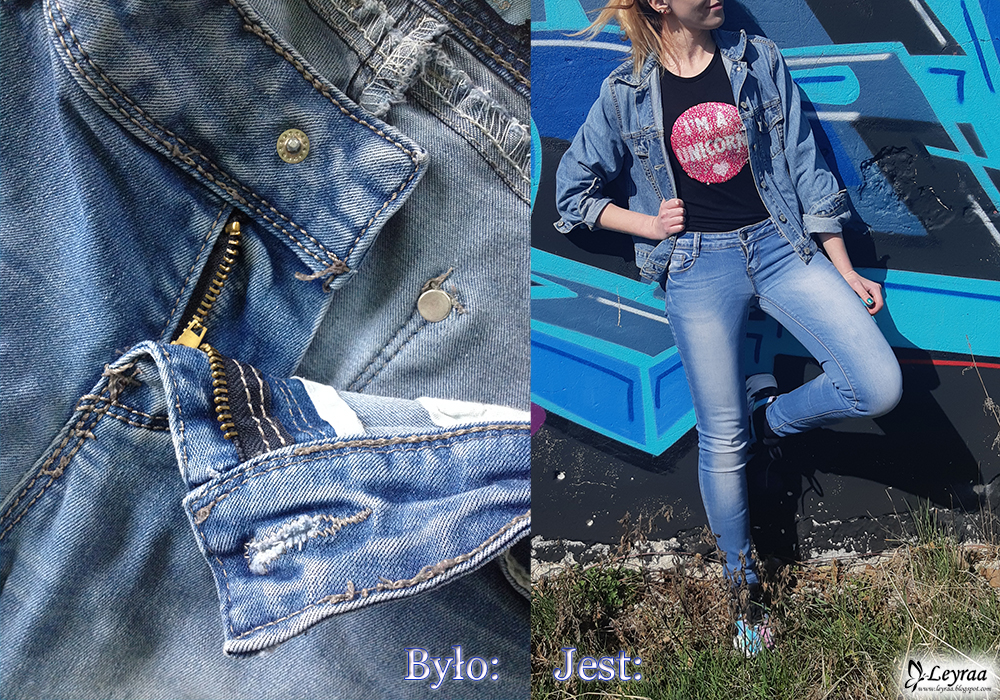 Czarna bluzka z dwustronnymi cekinami jednorożec, katana jeansowa, niebieskie spodnie rurki, nike tekno