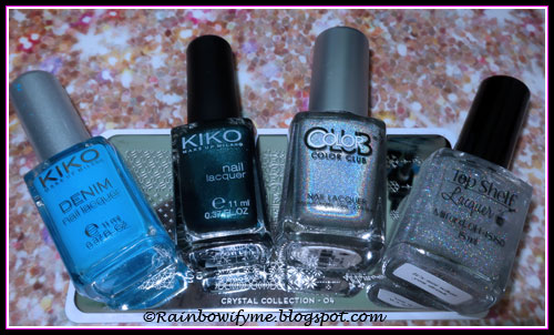 Kiko Denim #464, Kiko #529, Color Club Harp On It, Top Shelf Lacquer It's Not What You Drink