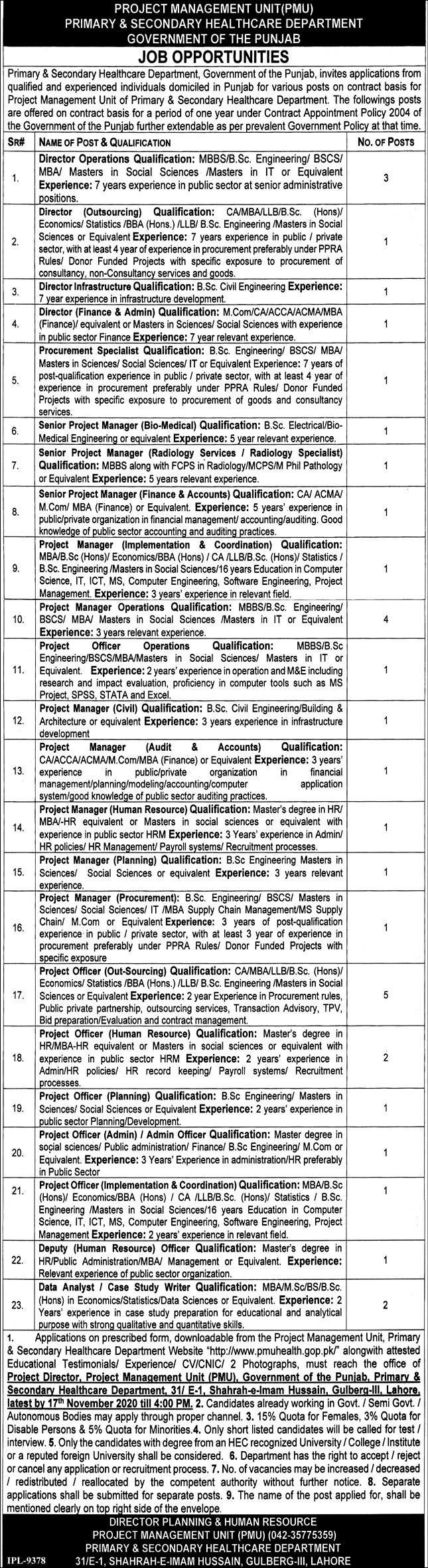 Project Management Unit PMU Latest Jobs in Pakistan Jobs 2021-2022 - Online Apply - www.pmuhealth.gop.pk