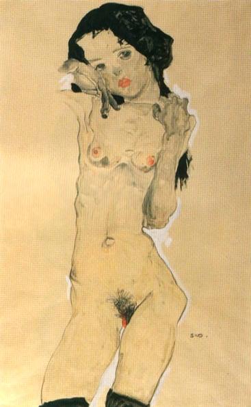 Noia nua amb els cabells negres (Egon Schiele)