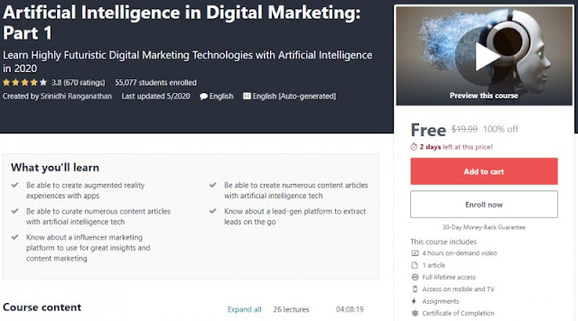 [100% Off] Artificial Intelligence in Digital Marketing: Part 1| Worth 19,99$