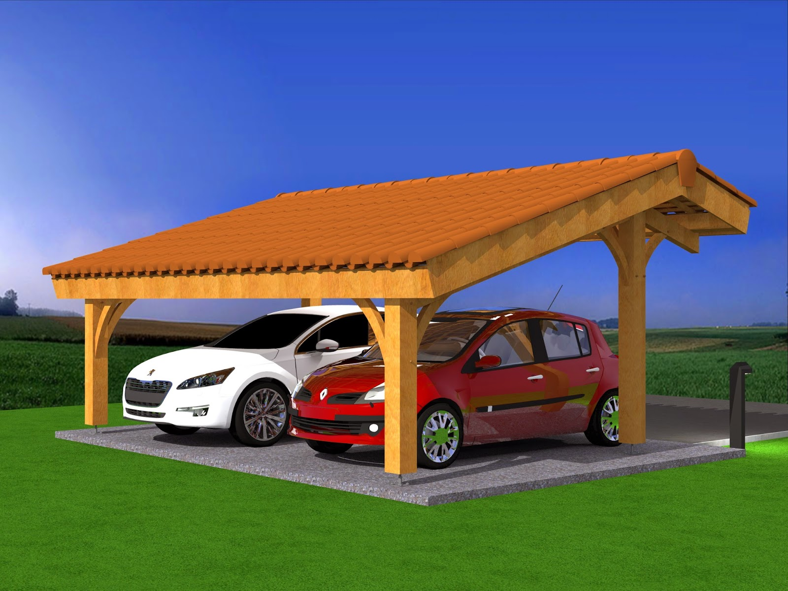 mod lisation projet carport bois 2 voitures avec sketchup pro. Black Bedroom Furniture Sets. Home Design Ideas