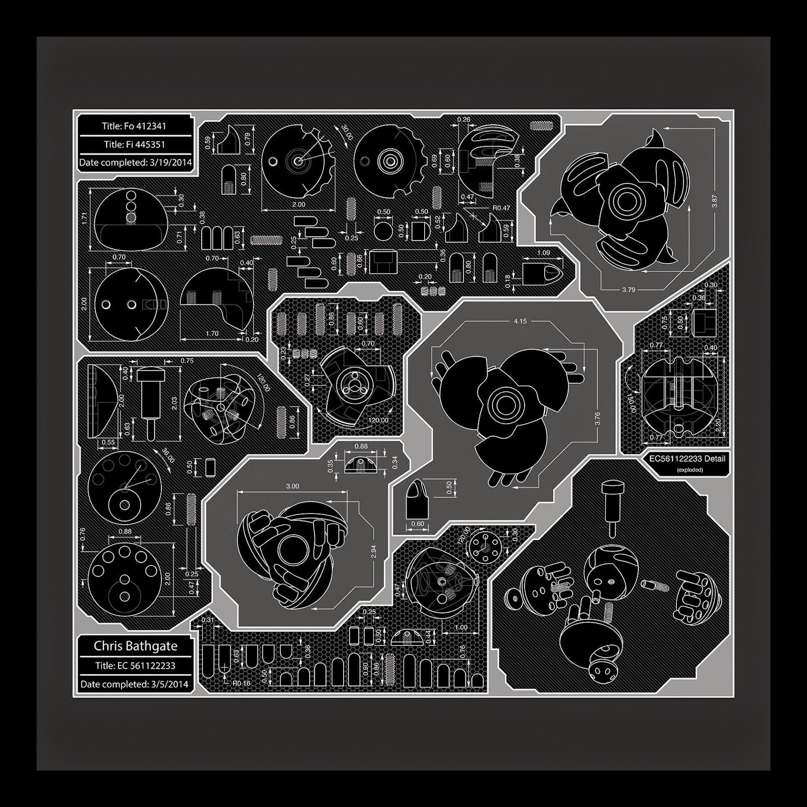 Blueprint, Schematic, CNC Art, CAD Art, CAD/CAM, industrial design