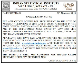 isi-kolkata-recruitment-notification-cancellation