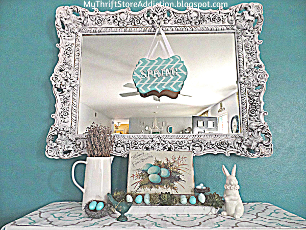 Whimsical farmhouse spring mantel