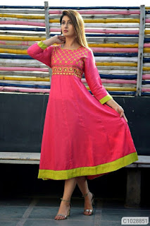 Affordable Rayon Embroidered Calf Length Kurtis