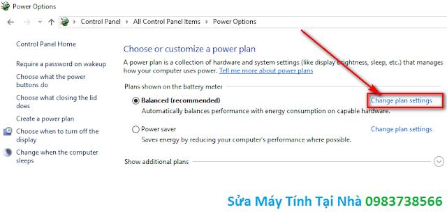 Bấm chuột chọn Change plan settings