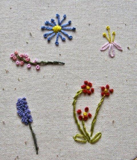 Thêu hoa nhí bằng mũi sa hạt