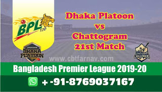 Chattogram vs Dhaka 21st Match BPL T20 Today Match Prediction Tips