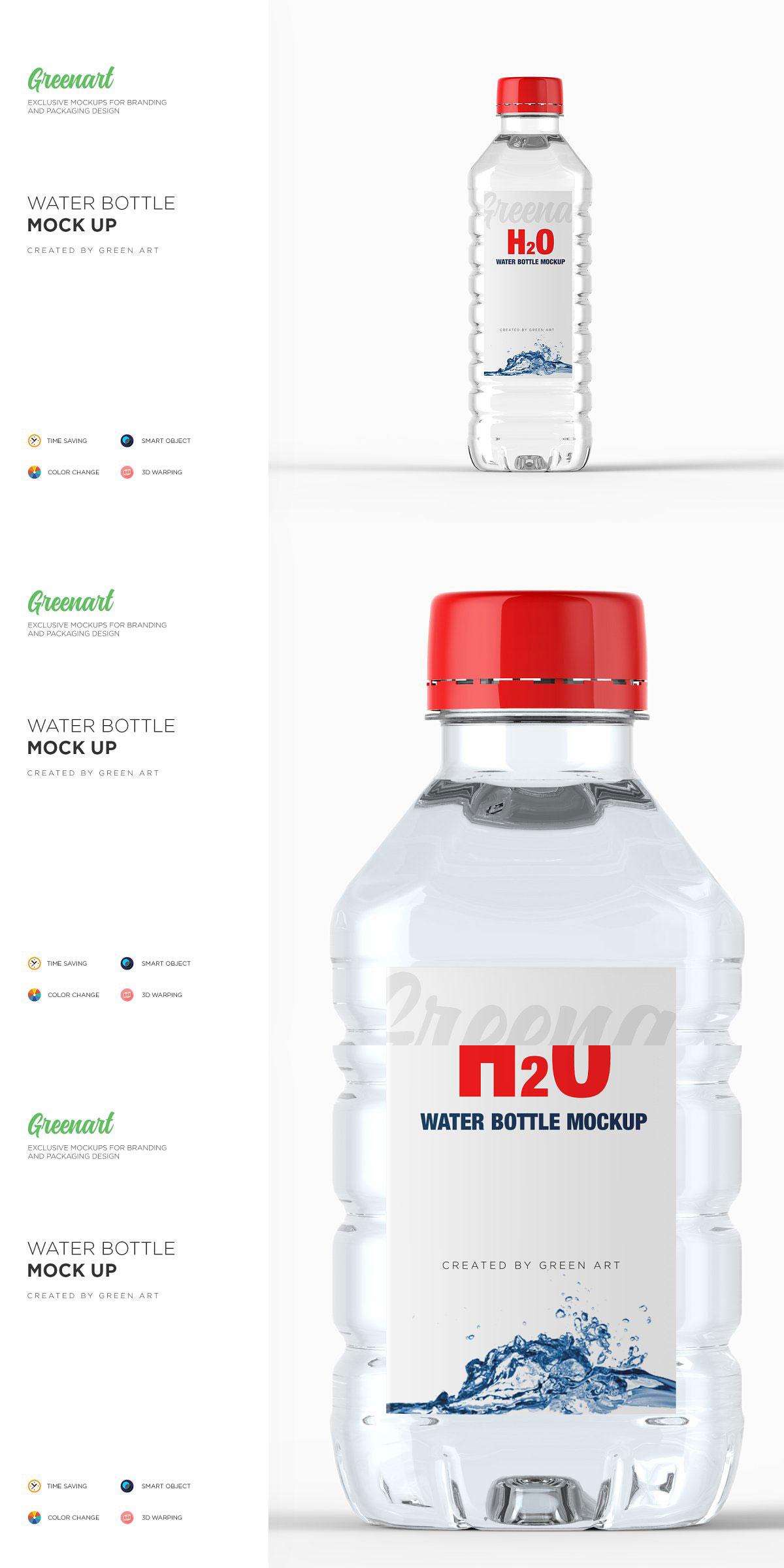 Plastic PET Bottle w Water Mockup 2738359 Free Download