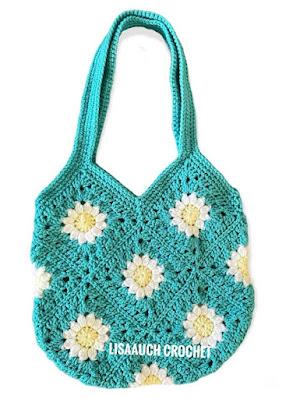 crochet granny square bag- crochet flower granny square