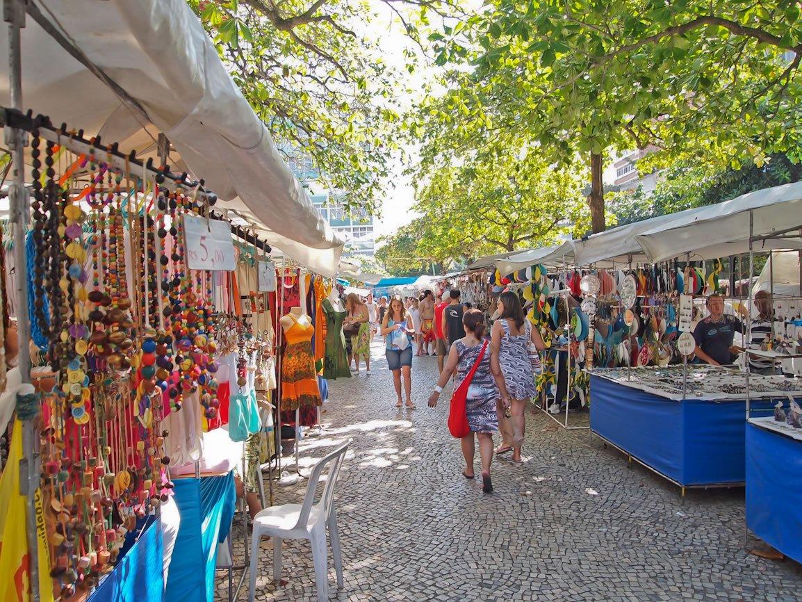 Рынок на площади Осорио в Бразилии