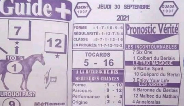 quinté+ Pronostic pmu jeudi Paris-Turf TV-100 % 30/09/2021
