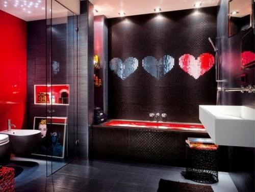 diseño baño negro rojo