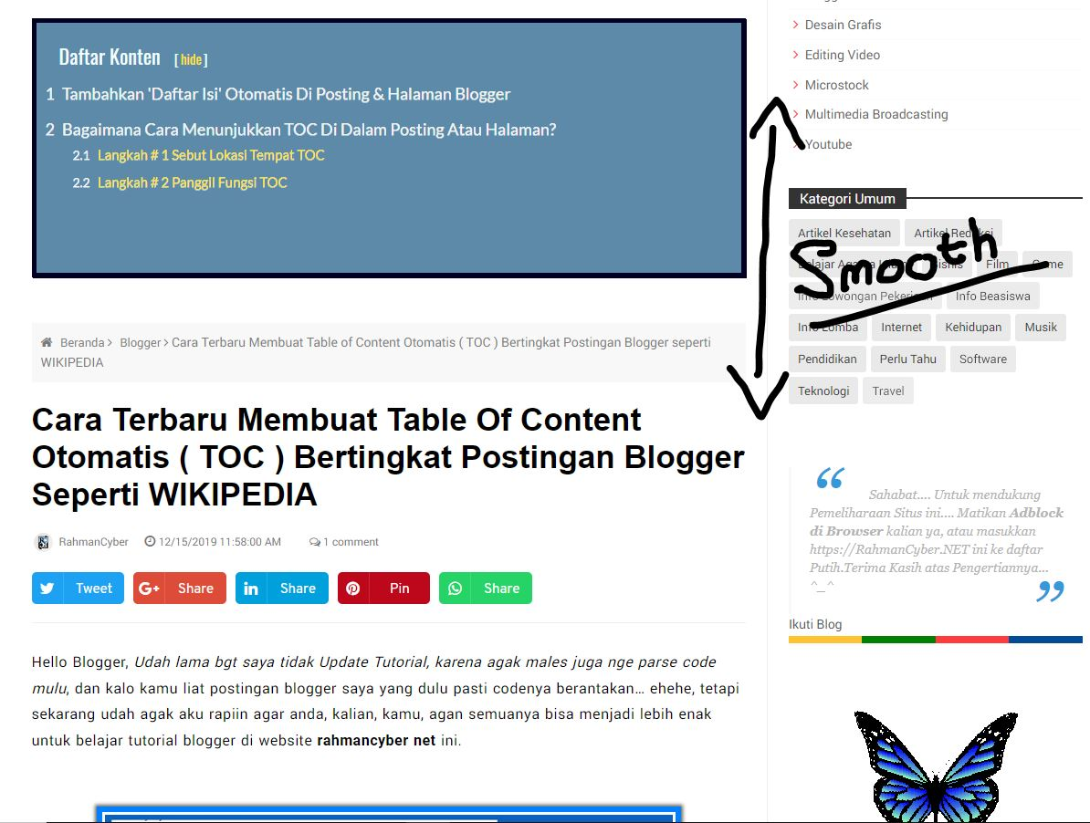 Cara Membuat Smooth Table of Content Otomatis Blogger