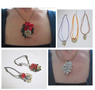 bijoux céramique fait main colliers fleurs, gioielli fatti a mano in ceramica , handmade ceramic jewelery made in paris