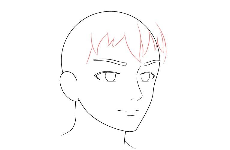 Anime laki-laki wajah 3/4 tampilan gambar rambut depan