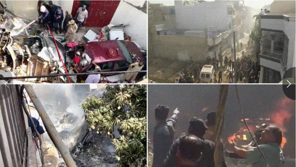 Un avión con 107 personas se estrelló contra edificios residenciales en Pakistán.