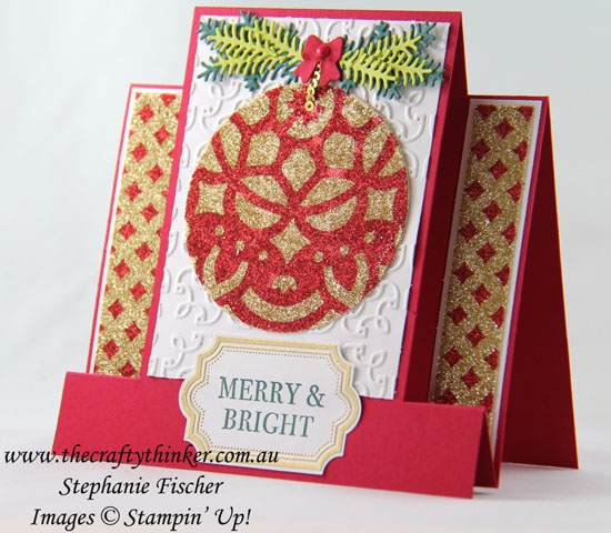 #cardmaking, Xmas, #christmascard, Christmas card, Centre Step Card, Fun Fold, Glitter Stencilling, #inkitstampit, #thecraftythinker, Stampin Up Australia Demonstrator, Stephanie Fischer