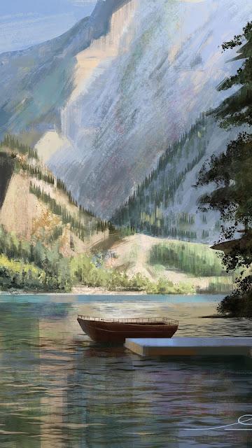 Canoe wallpaper on peaceful lake