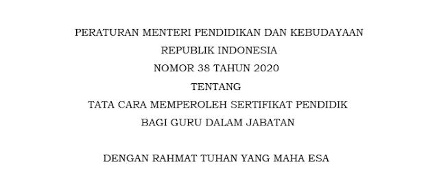 permendikbud nomor 38 tahun 2020 tentang tata cara memperoleh sertifikat bagi guru dalam jabatan (daljab) pdf tomatalikuang.com
