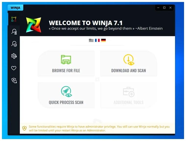 Winja :  Η καλύτερη δωρεάν εφαρμογή  Multi-Antivirus Engine Scanner