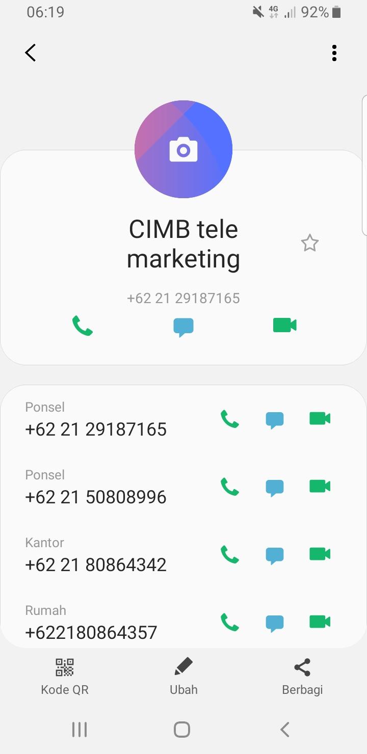 no telpon Telemarketing CIMB Niaga