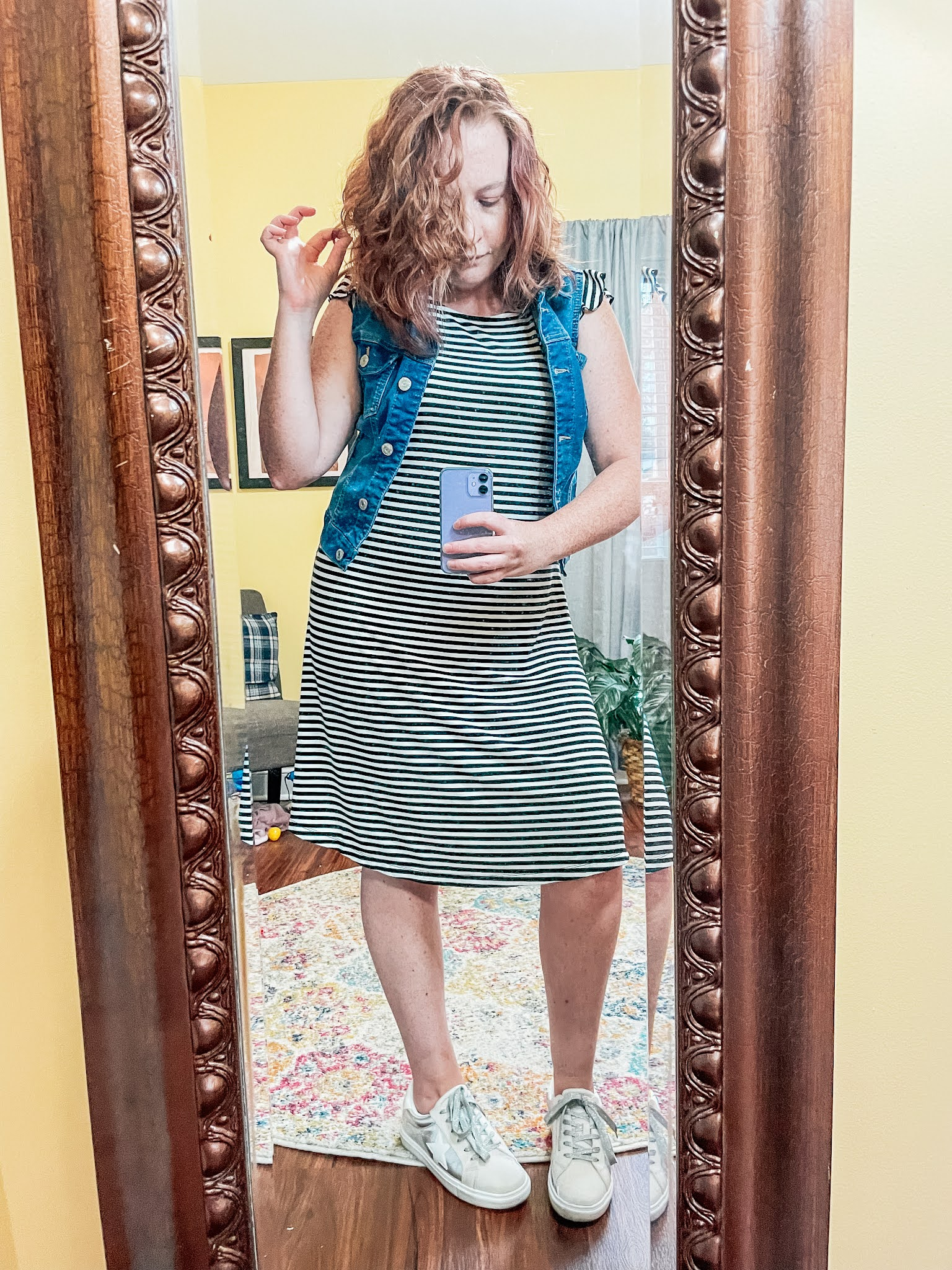 striped-dress-denim-vest