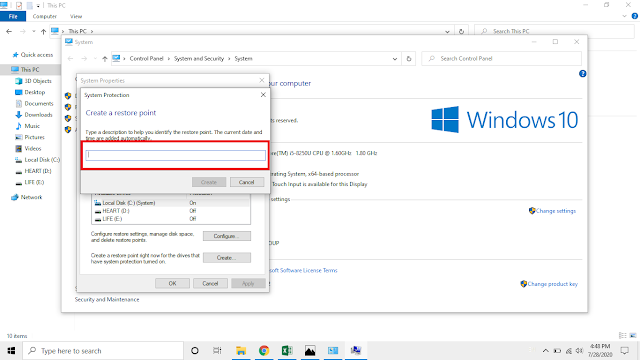 Cara mudah membuat system restore point di windows 10