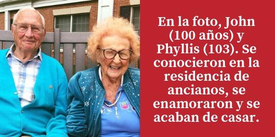 John y Phyllis se conocieron en la residencia de ancianos, se enamoraron y se acaban de casar