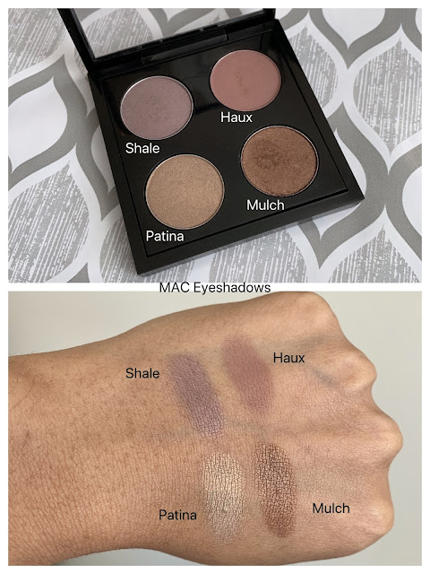 MAC eyeshadows swatches (shale, haux, patina, mulch) on dark skin