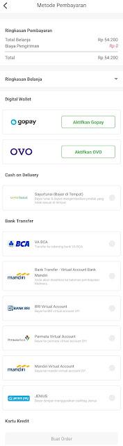 Metode pembayaran yang disediakan oleh Sayurbox
