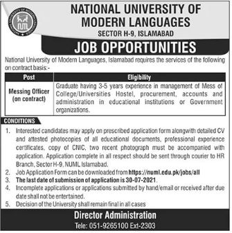 Jobs in National University of Modern Languages NUML